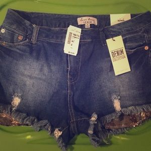 Love Tree sequined patch jean shorts